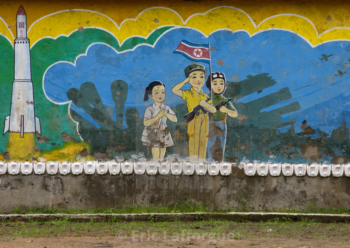 """Patriotic and military billboard in a school, North Hwanghae Province,..."" stock image"