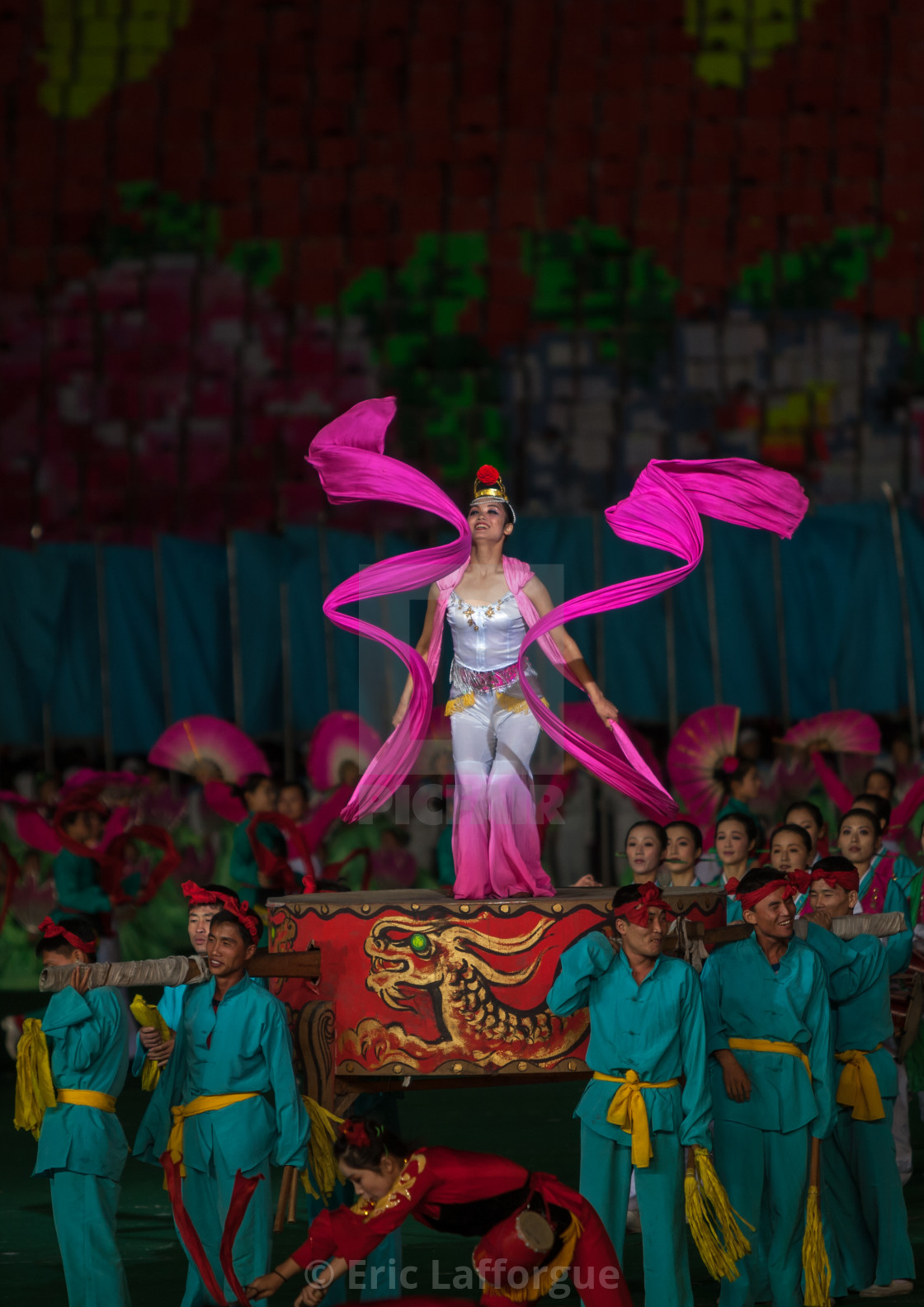 """North Korean women dancing with ribbons during the Arirang mass games in may..."" stock image"