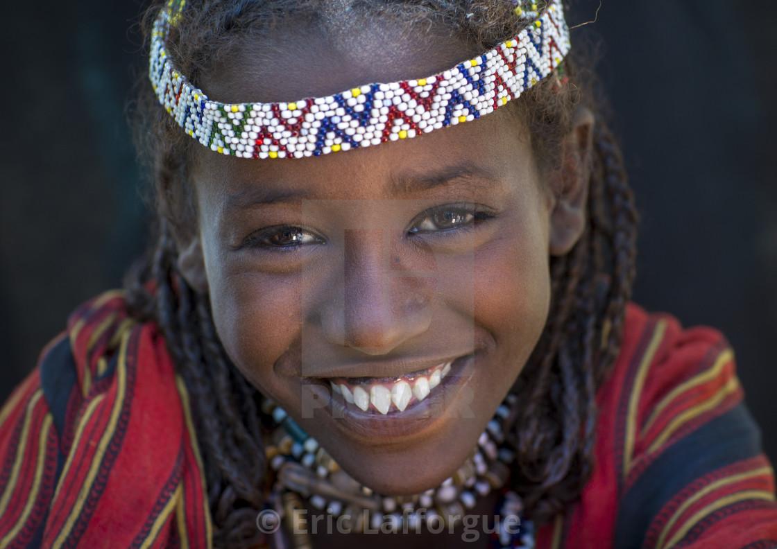 """Afar Tribe Woman With Sharpened Teeth, Assaita, Afar Regional State, Ethiopia"" stock image"