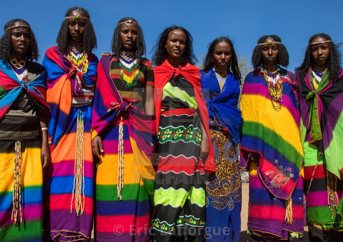 Borana tribe virgin girls during the Gada system ceremony, Oromia