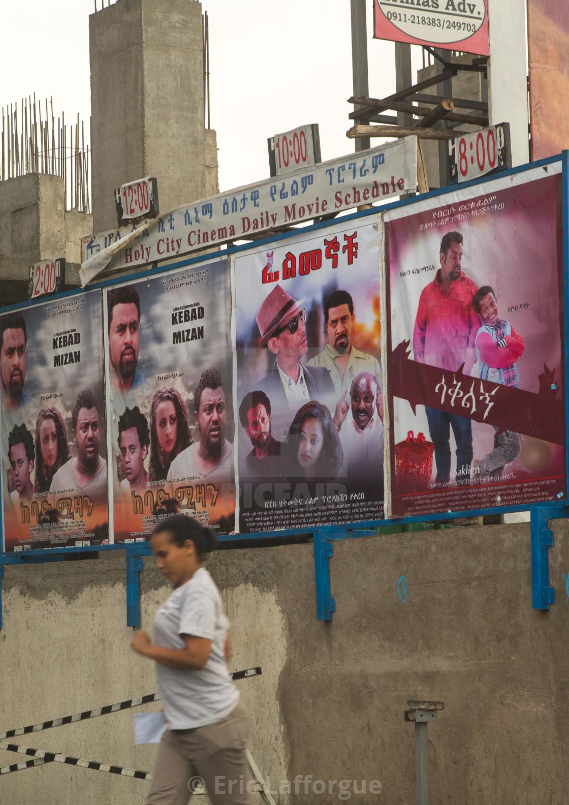 Ethiopian movie posters in the street, Addis abeba region, Addis