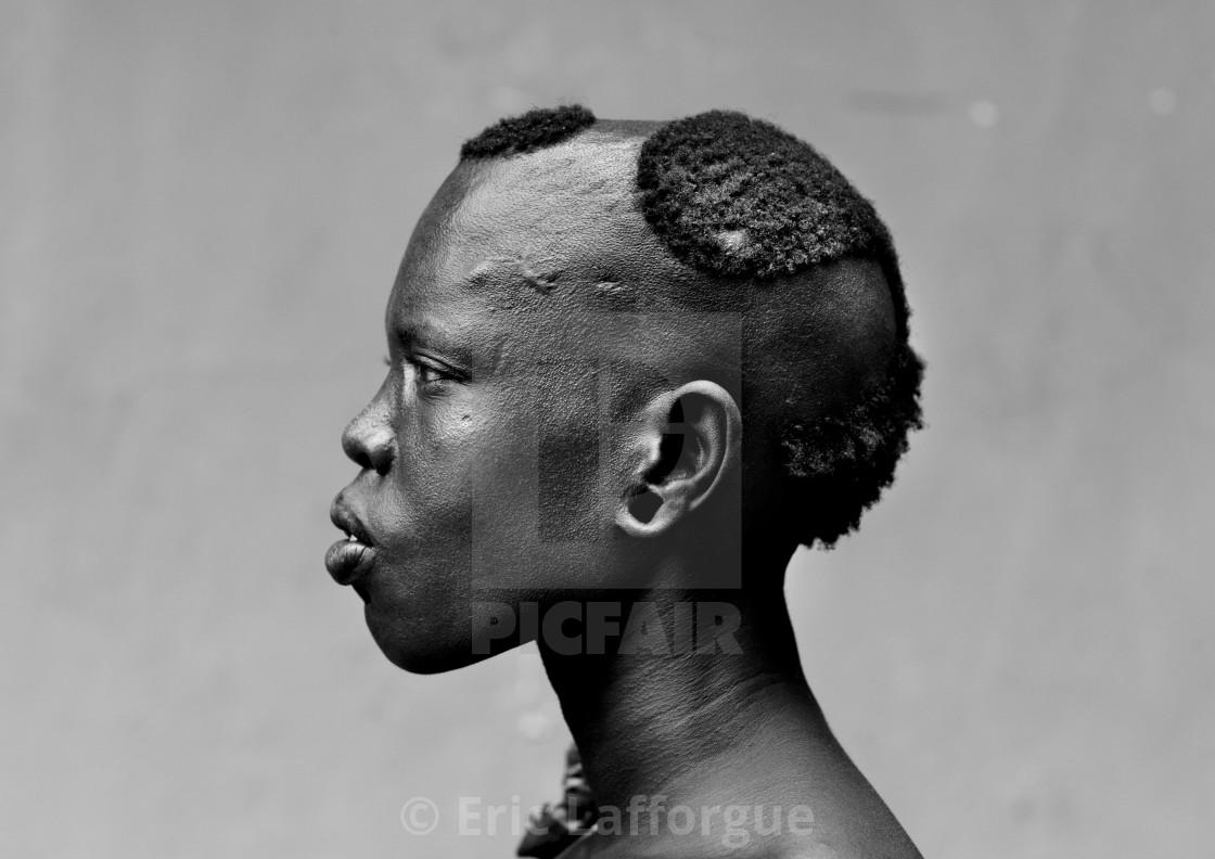 Bodi Woman Original Hairstyle Profile Hana Mursi Village Ethiopia