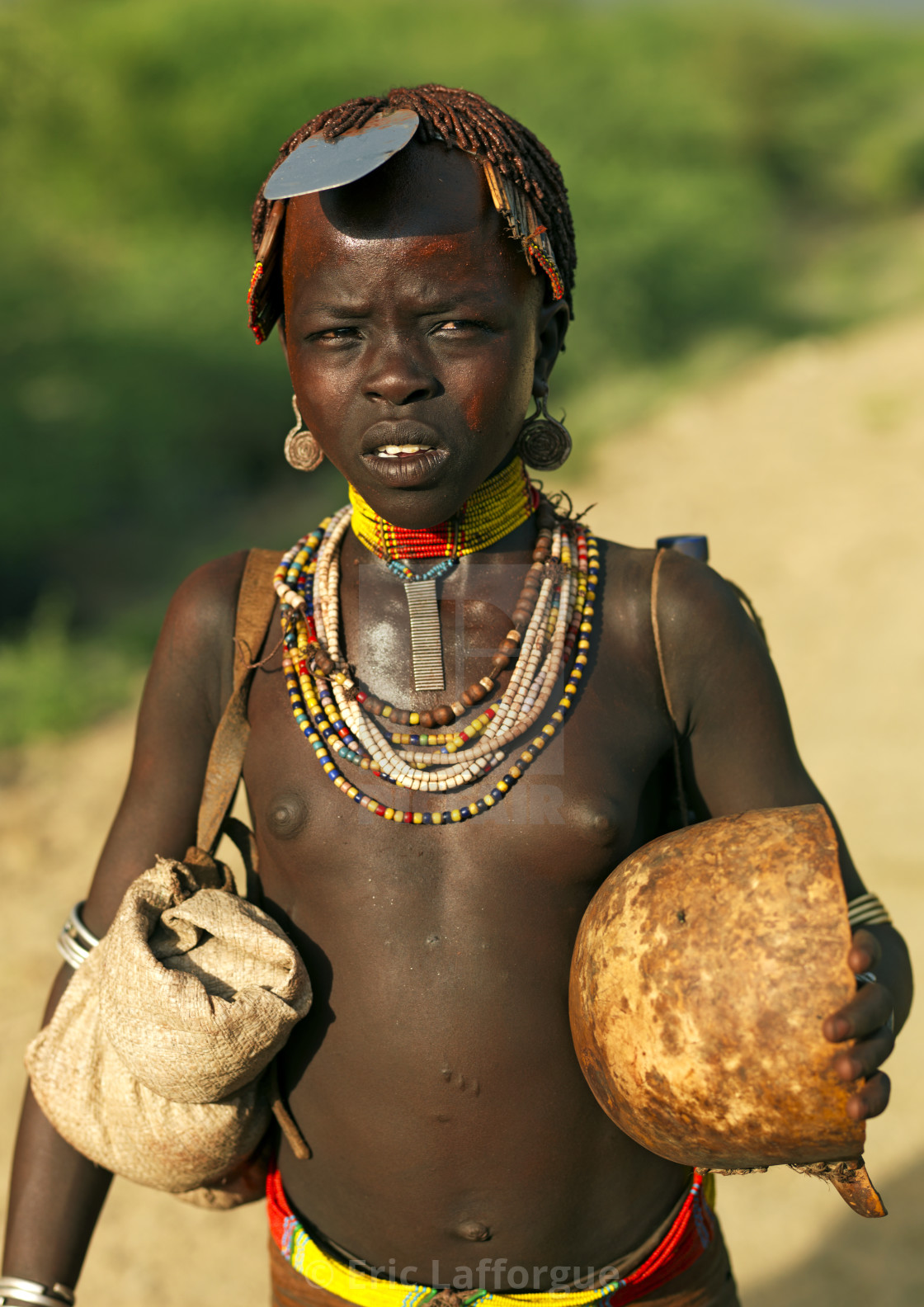Hamer Tribe Woman In Traditional Outfit, Turmi, Omo Valley
