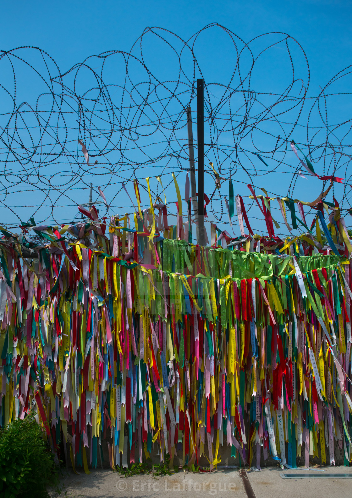 Messages of peace and unity written on ribbons left on fence at dmz ...