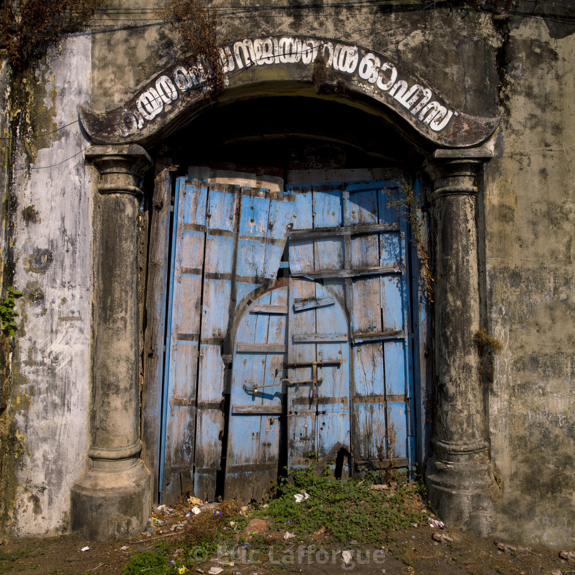 """Old Blue Wooden Door Near The Shopping Quarter, Kochi, India"" stock image"