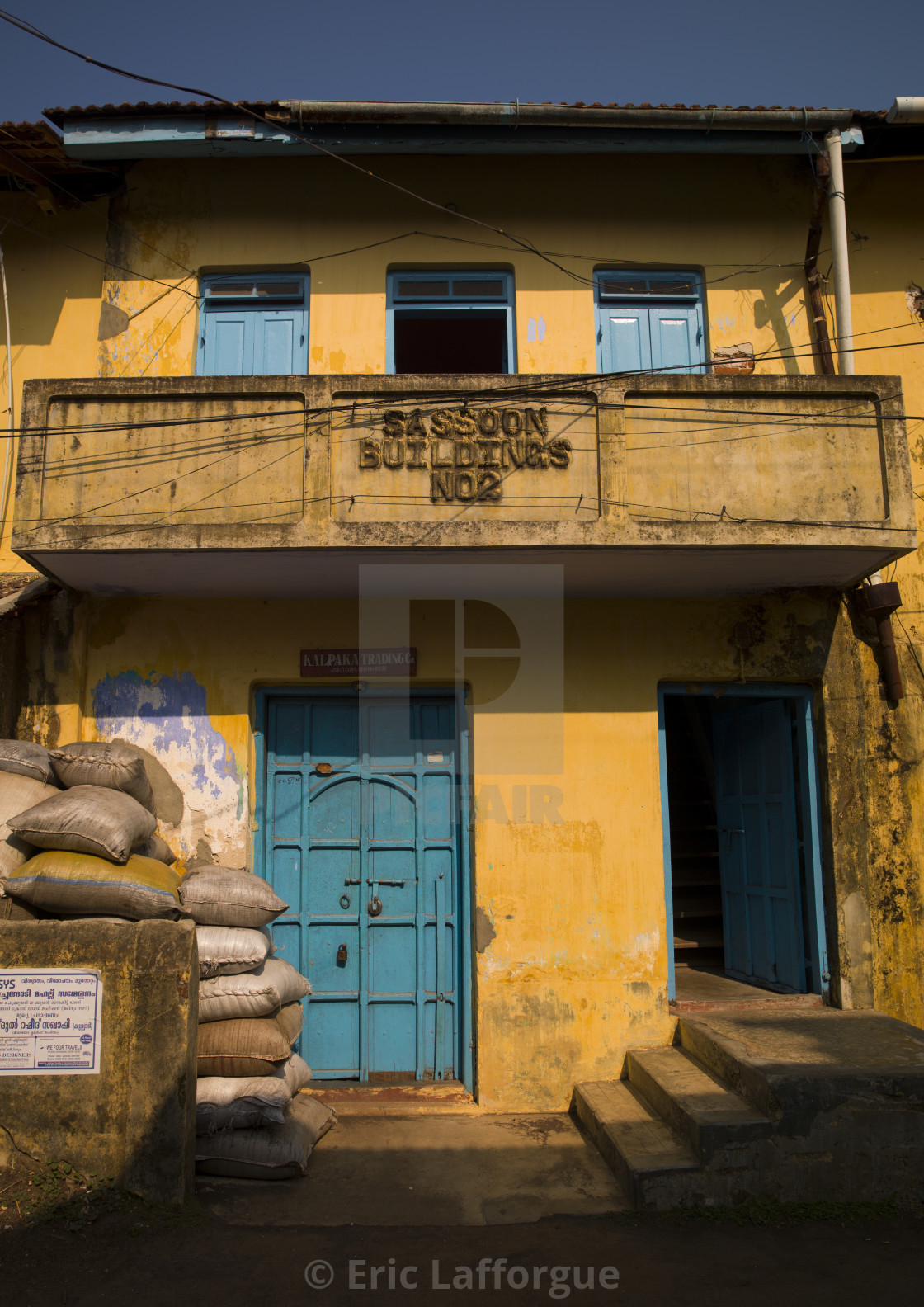 """Old And Colorful Sassoon Building In Jew-town, Kochi, India"" stock image"