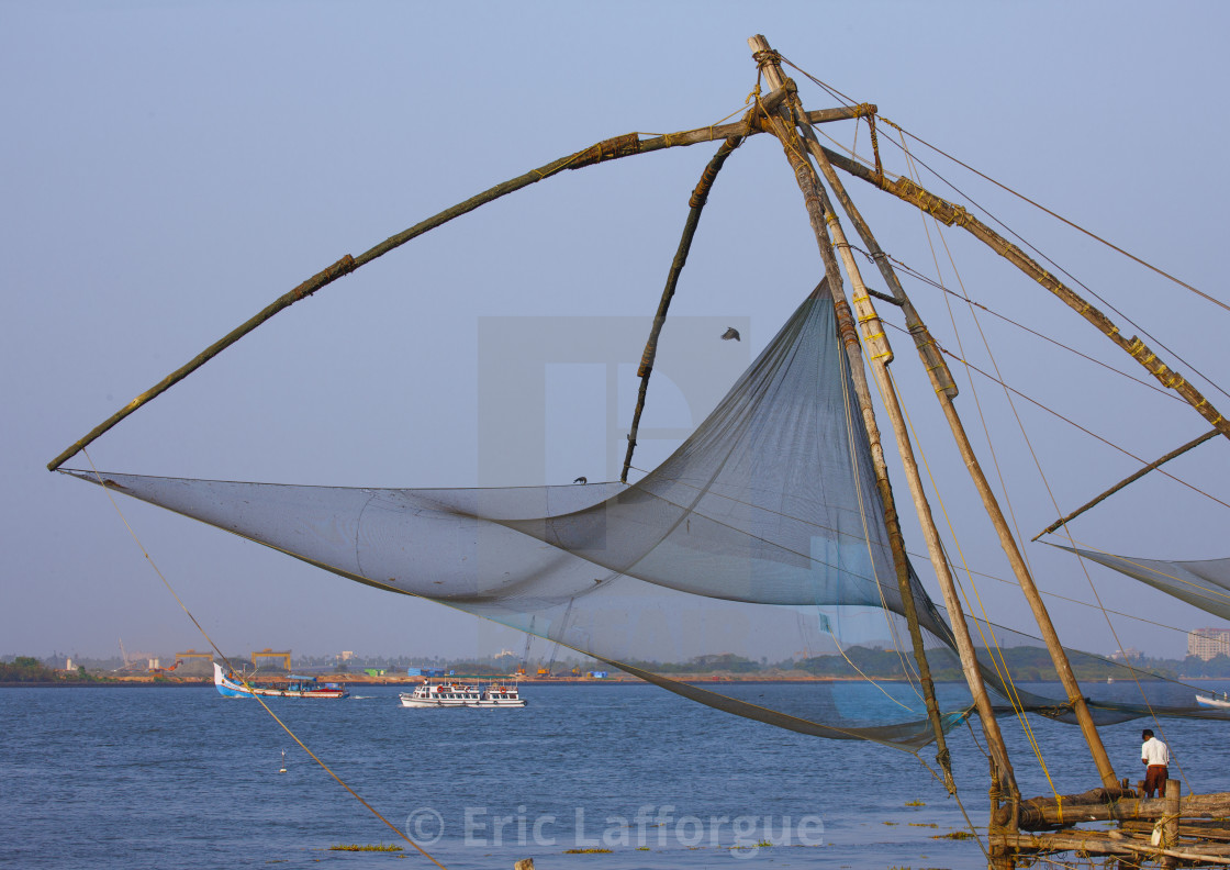 """Chinese Fishing Nets, Kochi, India"" stock image"