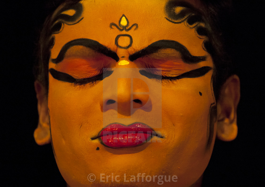 """Close Up Of A Kathakali Dancer With Traditional Face Make Up Eyes Closed,..."" stock image"