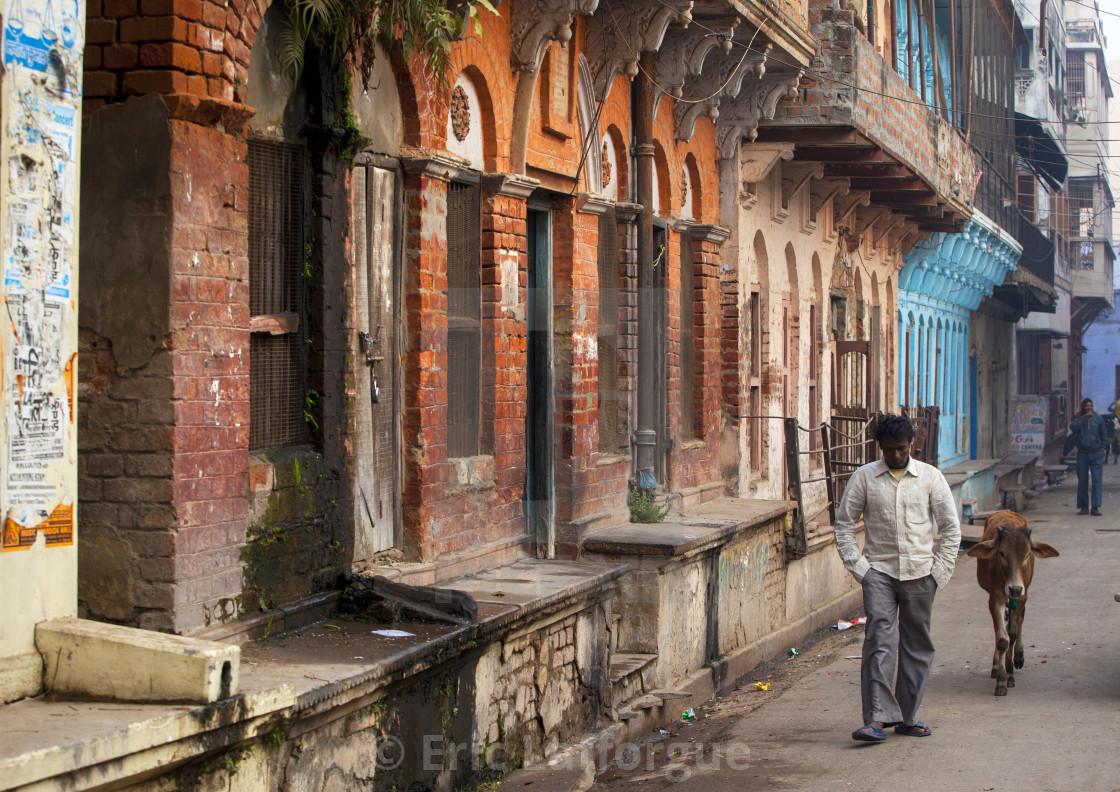 """Indian Man Wlaiking In The Ciry, Varanasi, India"" stock image"