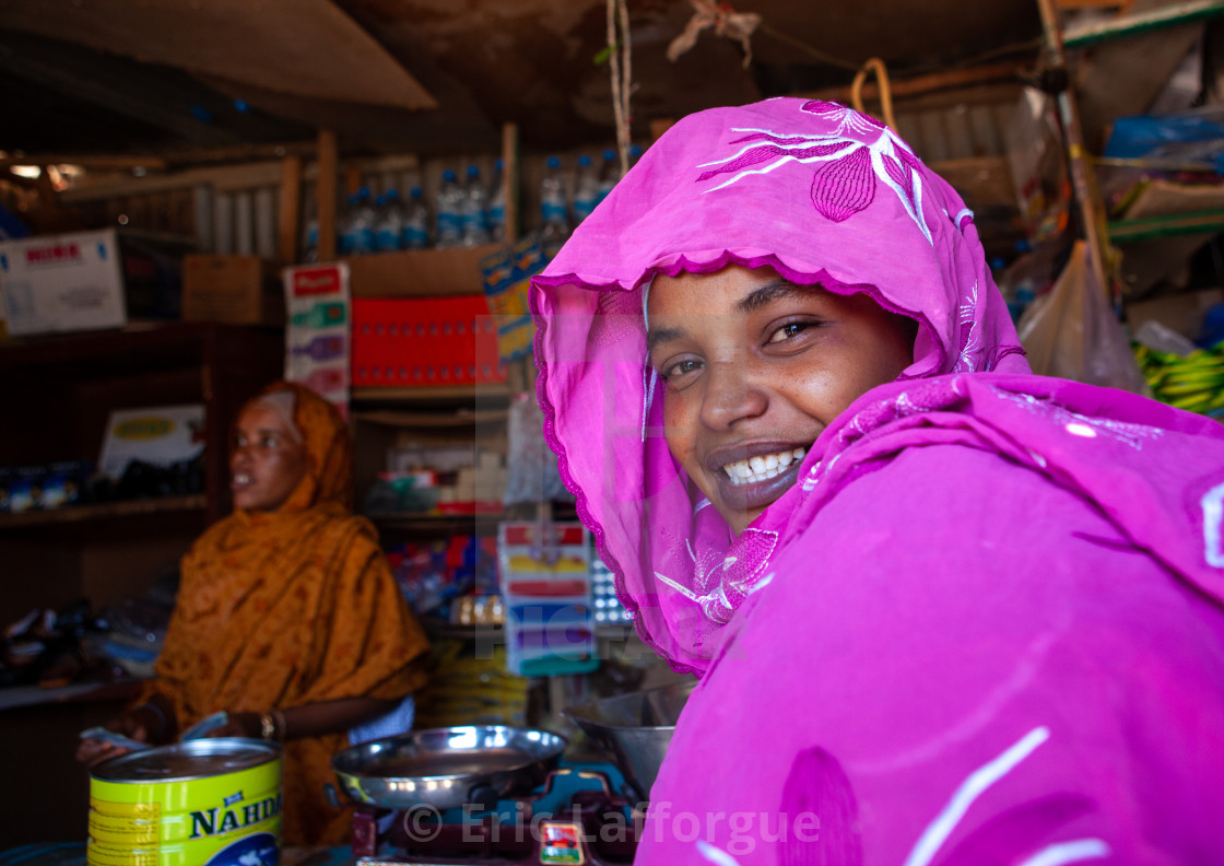 """Potrait of a somali woman in a shop, Woqooyi Galbeed province, Baligubadle,..."" stock image"