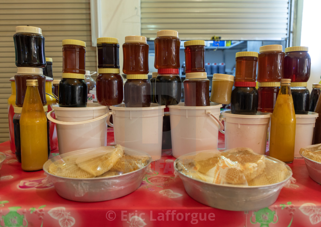 Honey and honeycombs for sale on a market, Asir province