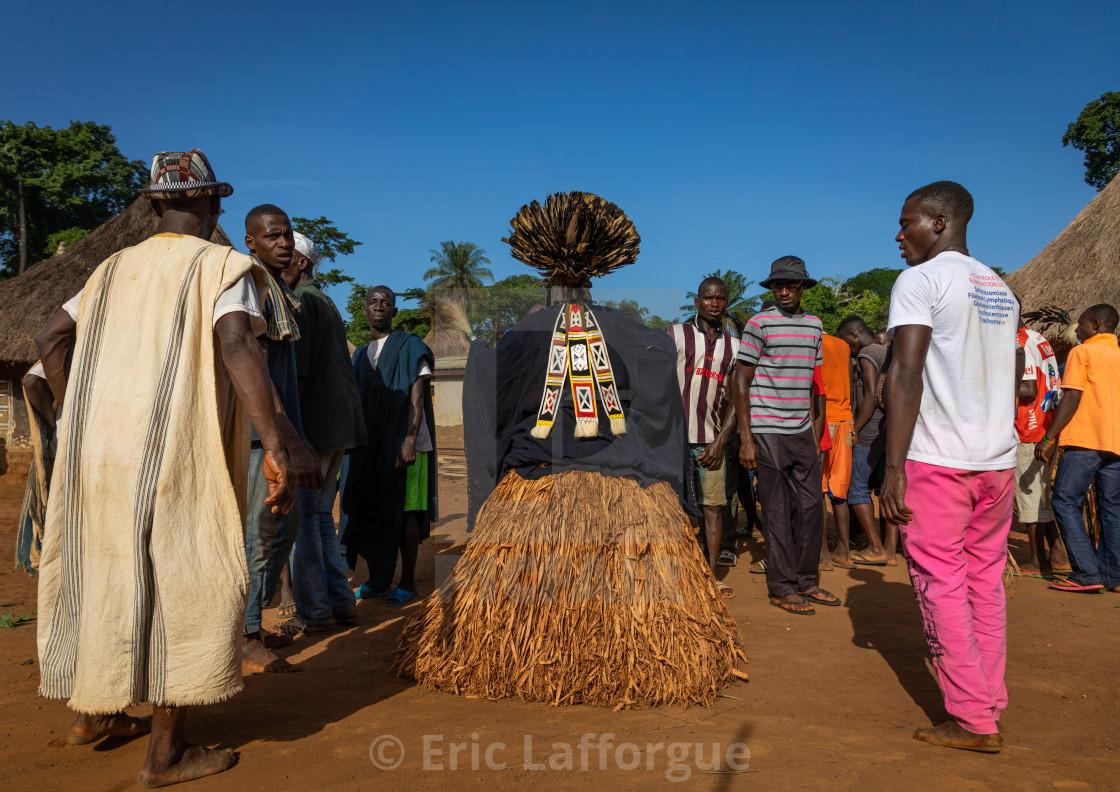 Dan tribe mask sacred dance during a ceremony, Bafing, Gboni
