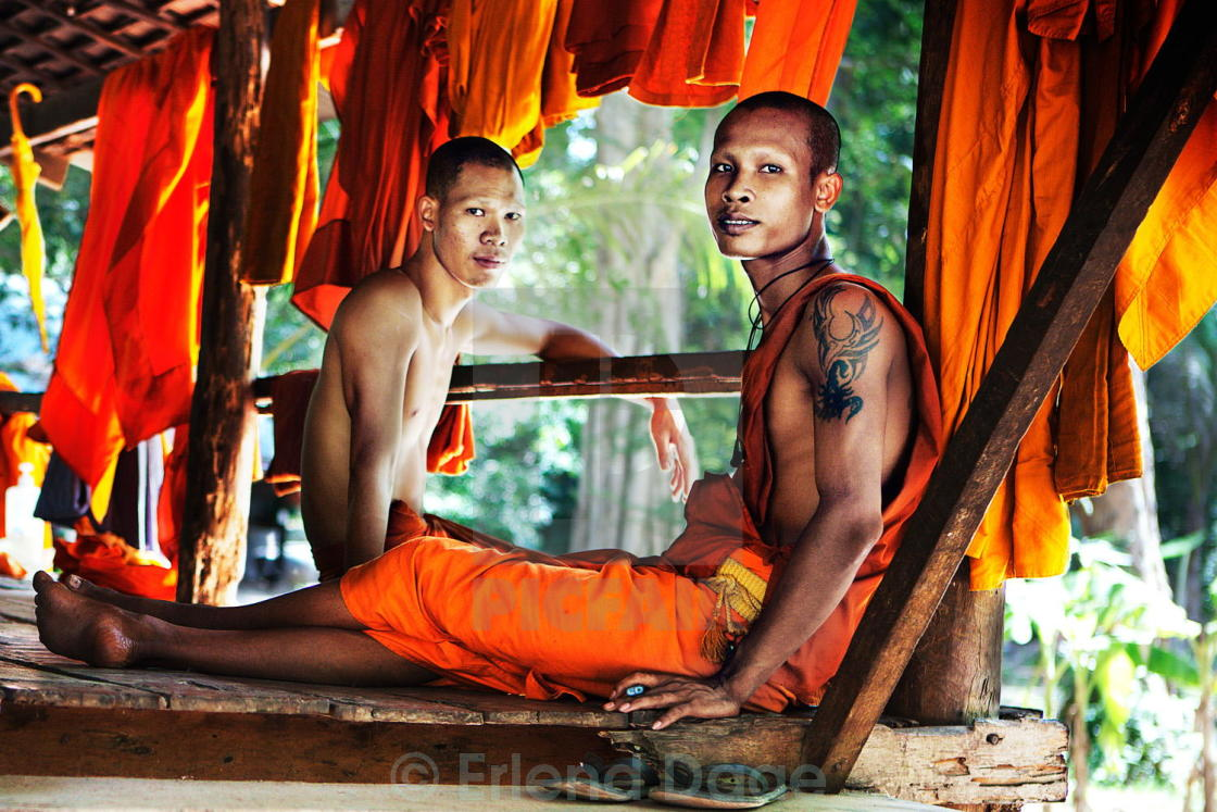 """Monks Relaxing"" stock image"