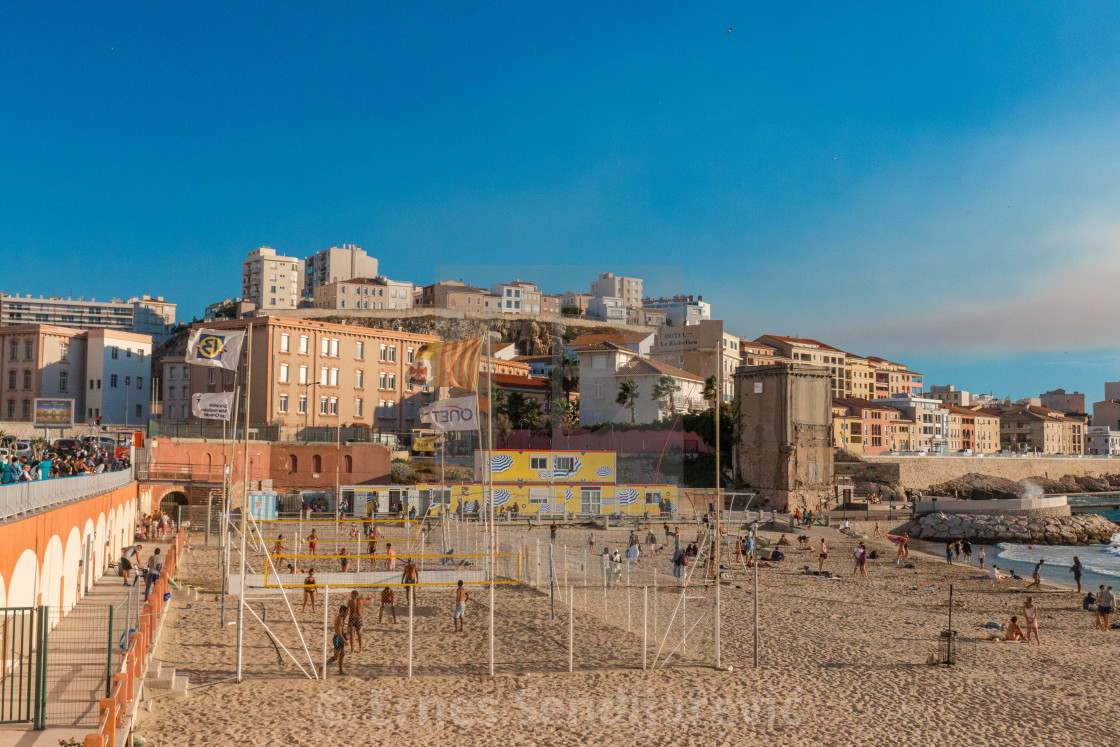 """""""Beach Volleyball,Marseille, France"""" stock image"""
