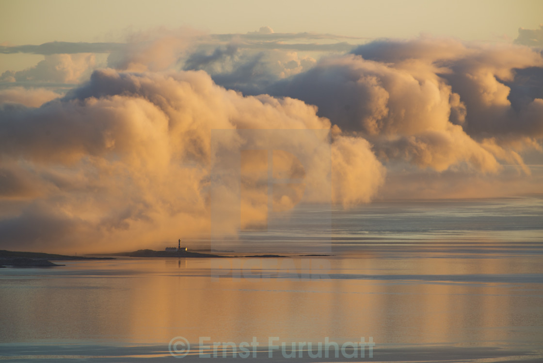"""Fog and lighthouse"" stock image"