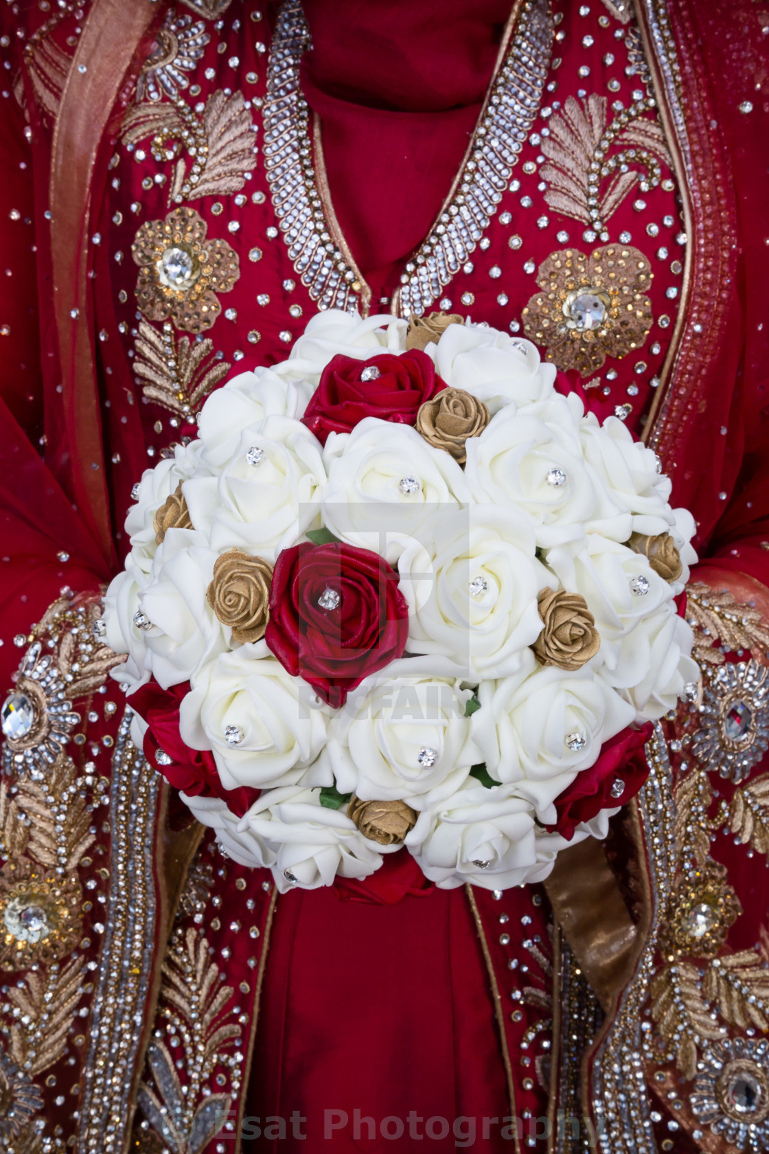 """Bride with red bouquet"" stock image"