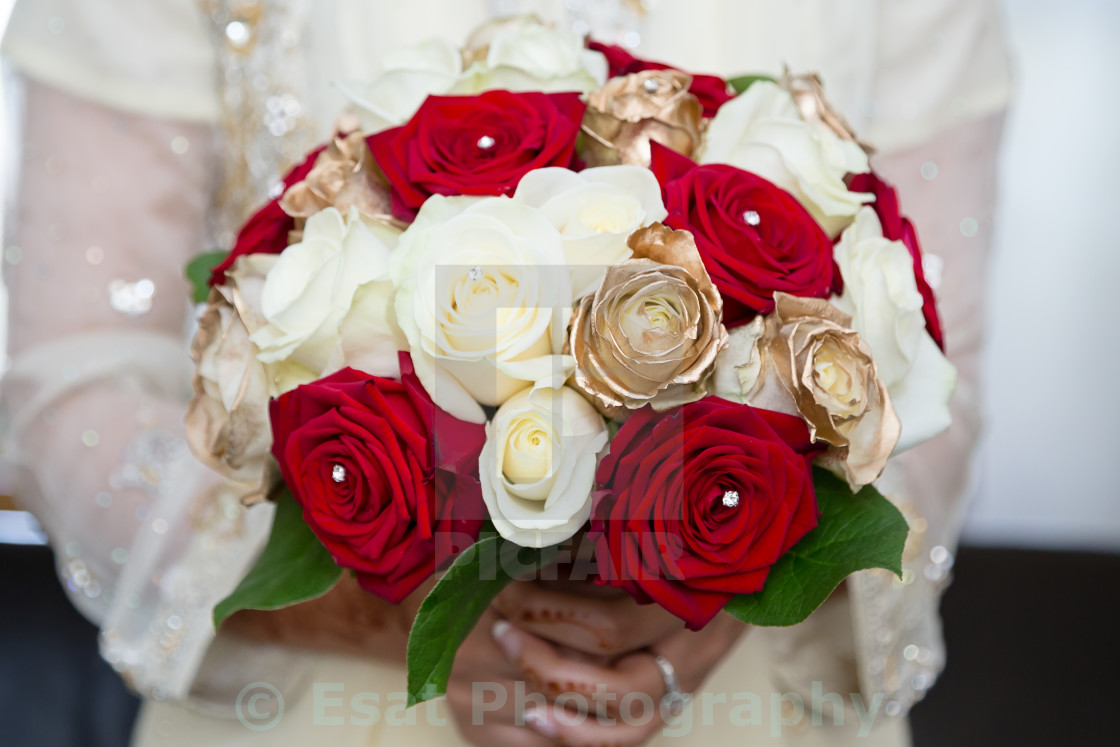 """""""red and white bouquet holding"""" stock image"""