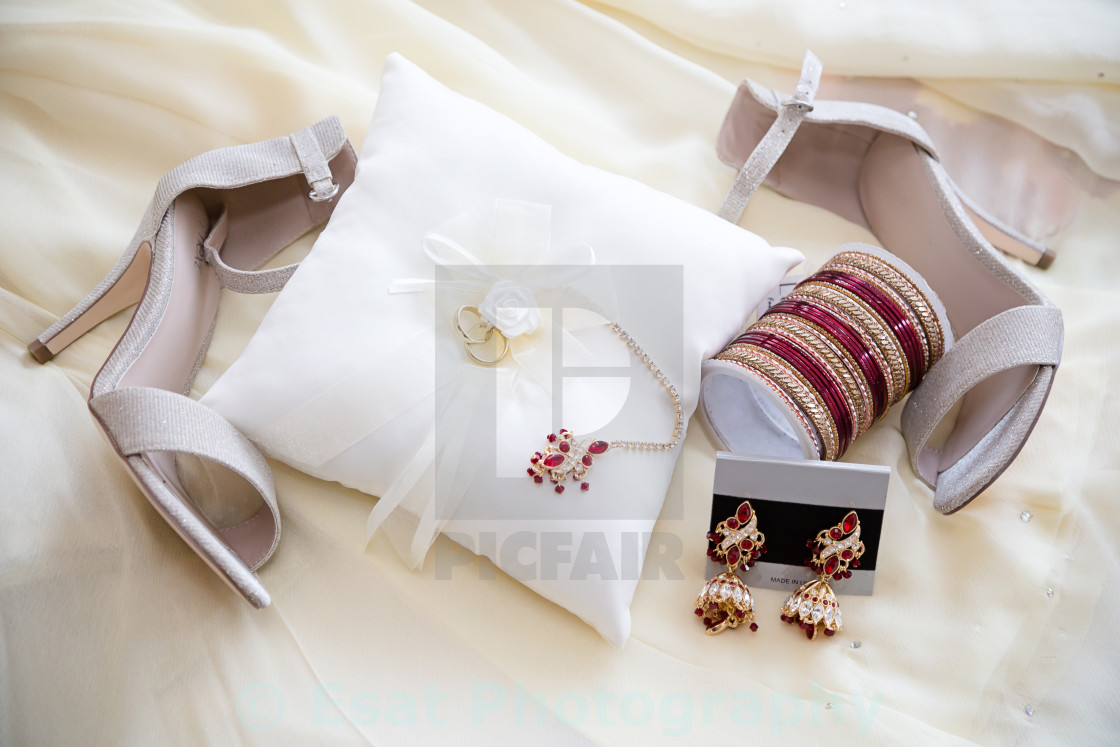 """Brides jewelry and shoes"" stock image"