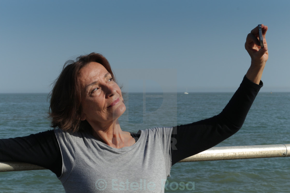 """Mature woman selfie"" stock image"