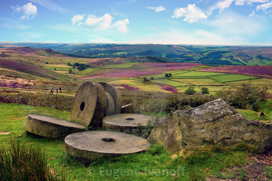 """Abandoned Millstones at Stanage Edge, England, UK"" stock image"