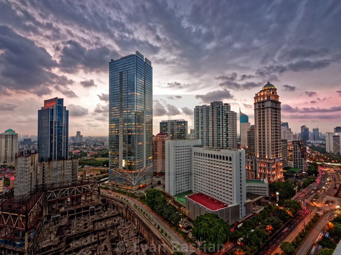 """Jakarta city view - Sudirman Sahid Center Cloudy"" stock image"