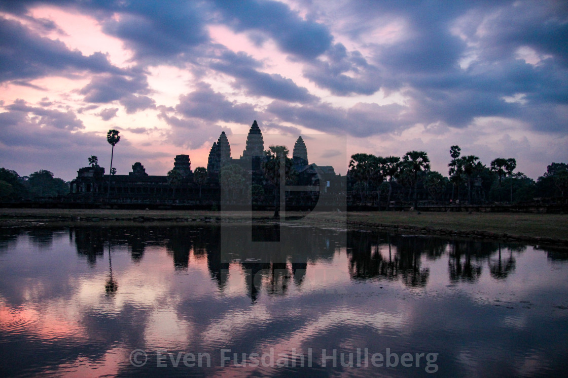 """Sunrise at Angkor Wat near Siem Reap in Cambodia"" stock image"