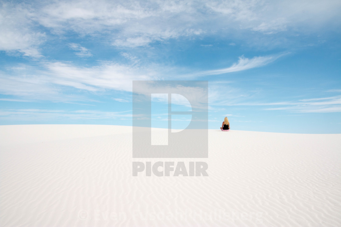 """People in nature, woman doing yoga in White Sands National Monument, New Mexico"" stock image"