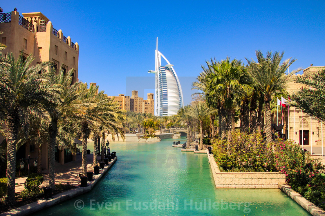 """Burj al Arab seen from Madinat Jumeirah, Dubai"" stock image"