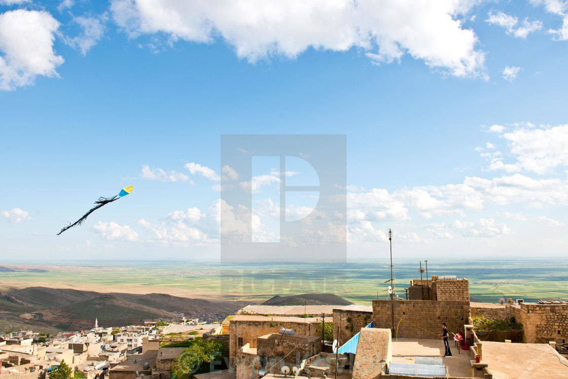 """The kid and his kite"" stock image"