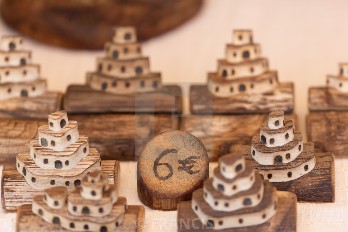 """""""Figures carved with pita wood."""" stock image"""