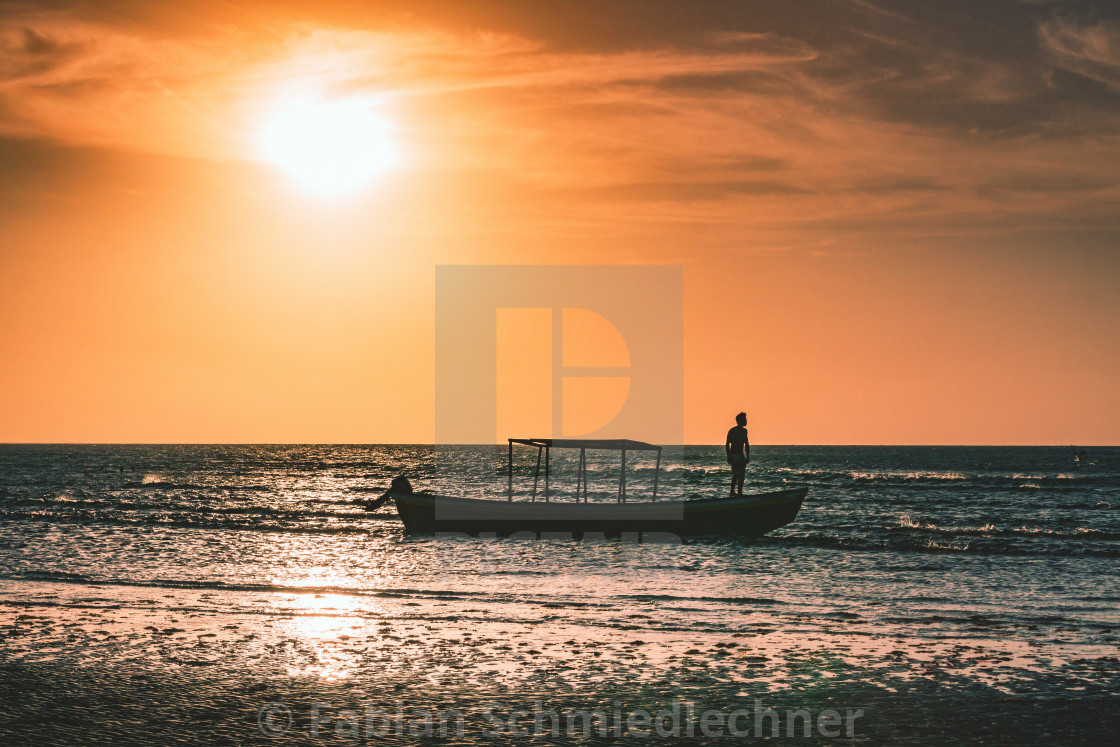 """Sunset on a Boat"" stock image"