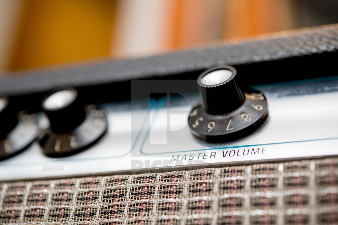 Volume control concept, guitar amplifier knobs detail