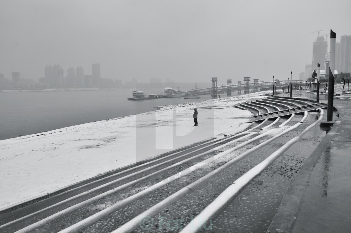 """snow on the Yangtze River"" stock image"