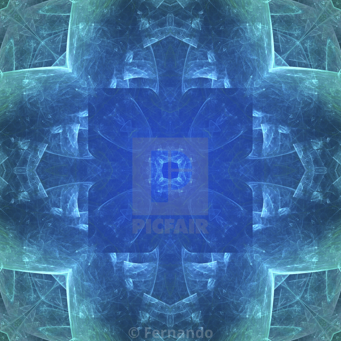 """blue, Flower shaped fractal mandala, digital artwork for creative graphic..."" stock image"