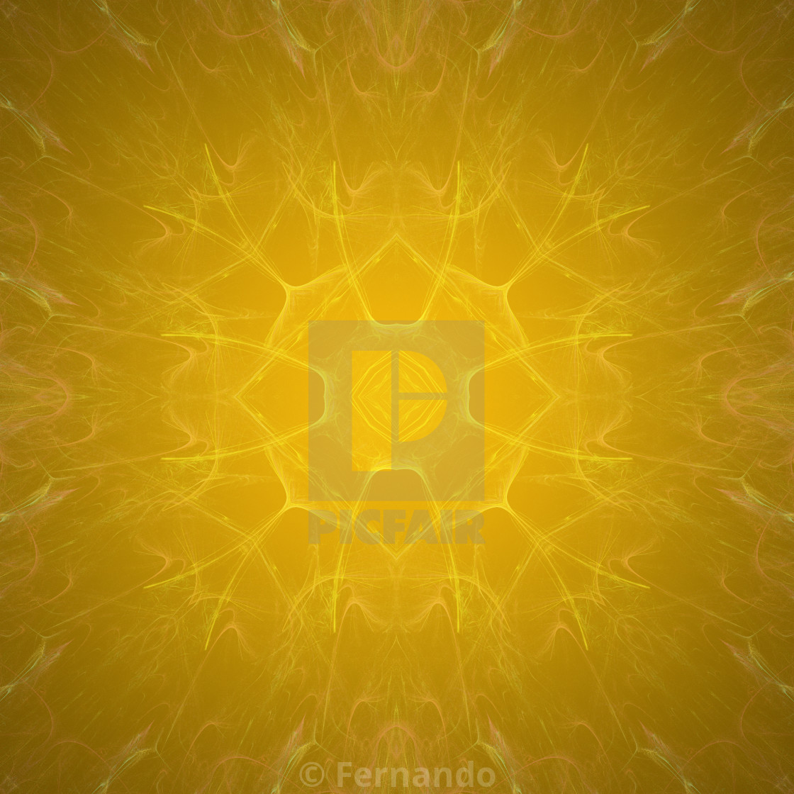 """Yellow Flower shaped fractal mandala, digital artwork for creative graphic..."" stock image"