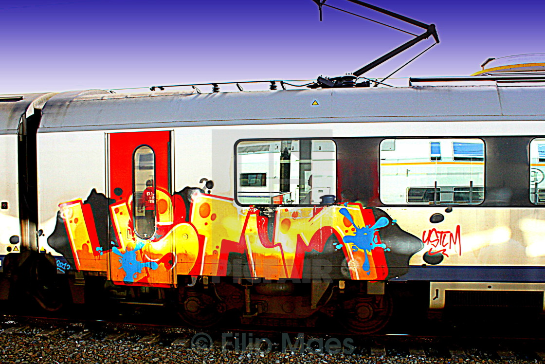"""Graffiti train"" stock image"