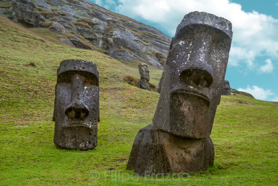"""Moai standing in Easter Island , Chile - South America"" stock image"