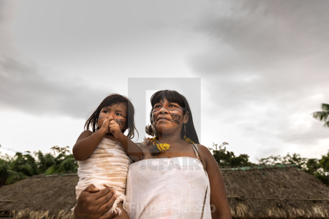 """Mother and daughter from Tupi Guarani Tribe in Brazil"" stock image"