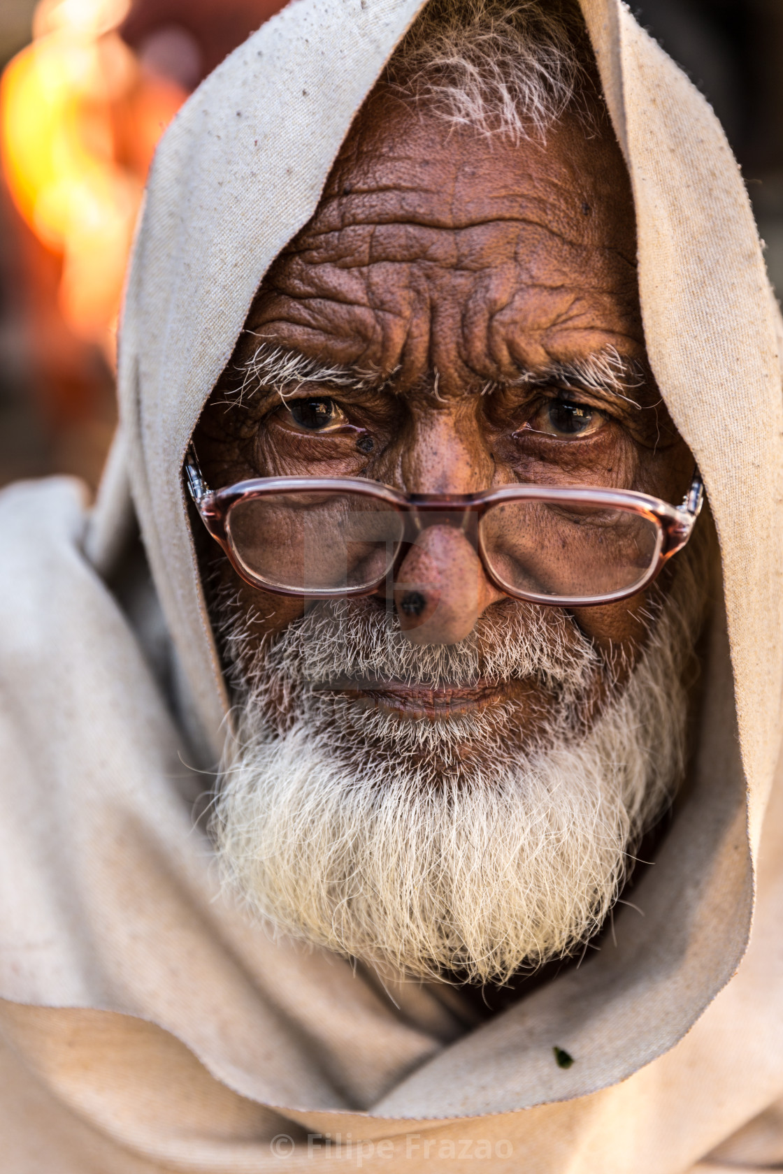 """Portrait of a Rajasthani old man at a small village in India"" stock image"
