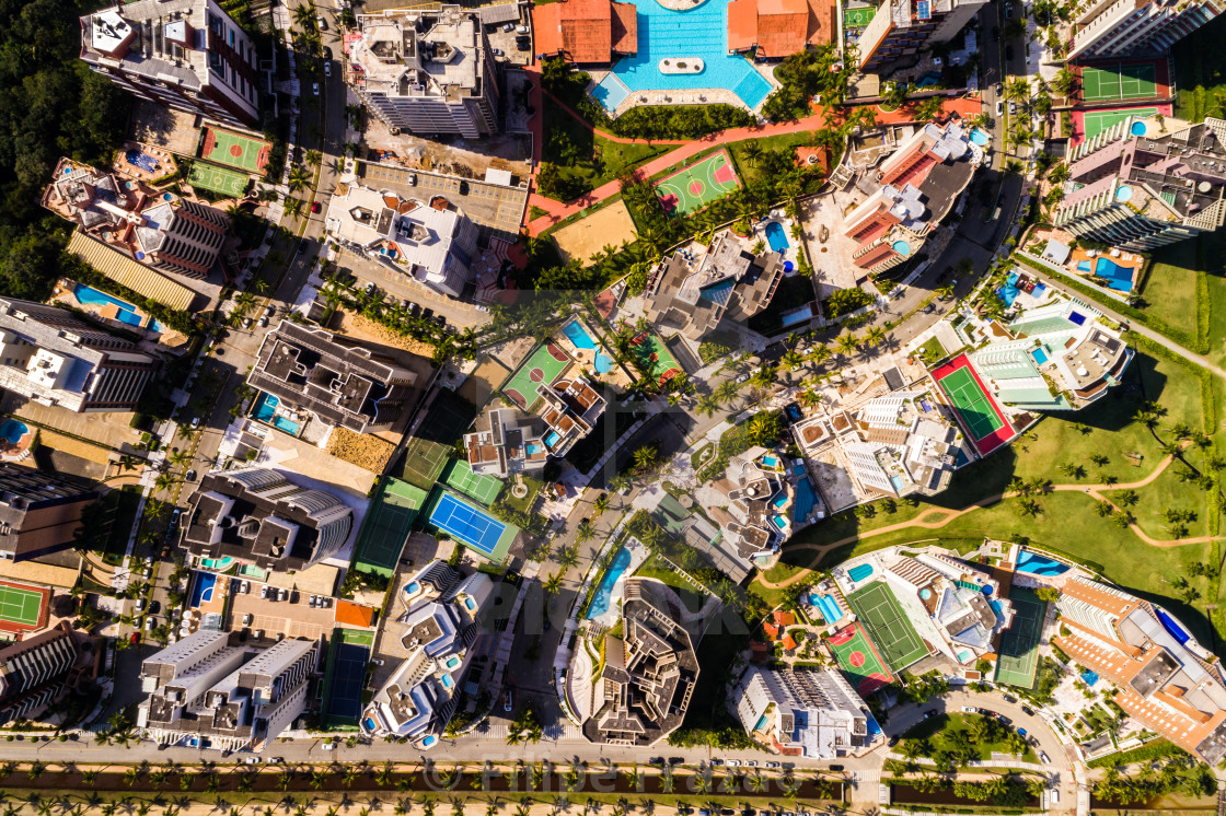 """Many Modern Tall Buildings by a Drone"" stock image"