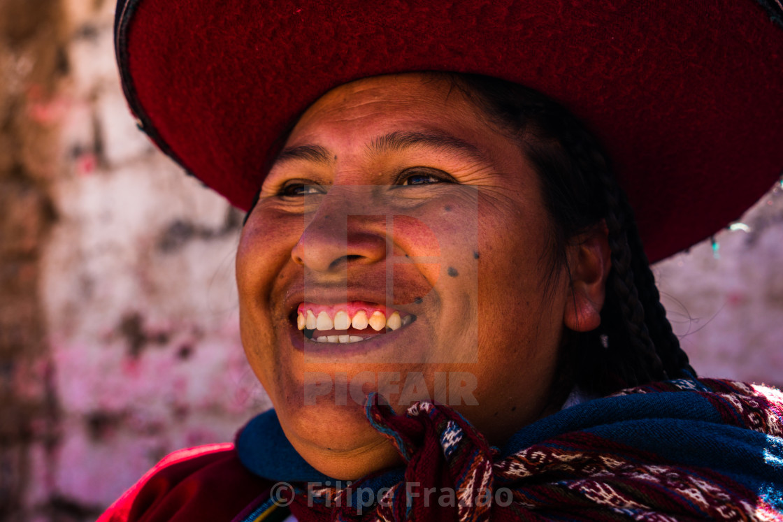 """Peruvian traditional young woman (Quechua lady) in the street of Chinchero, Peru"" stock image"