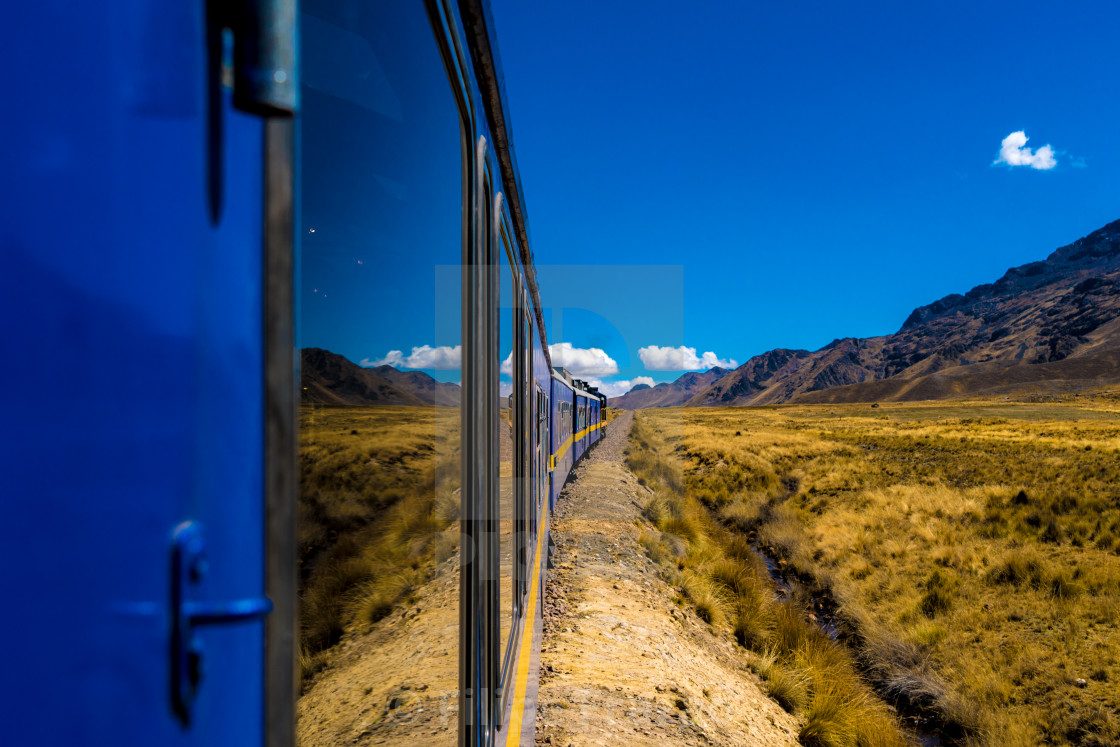 """""""Wonderful view from the train between Cusco and Puno, Peru"""" stock image"""