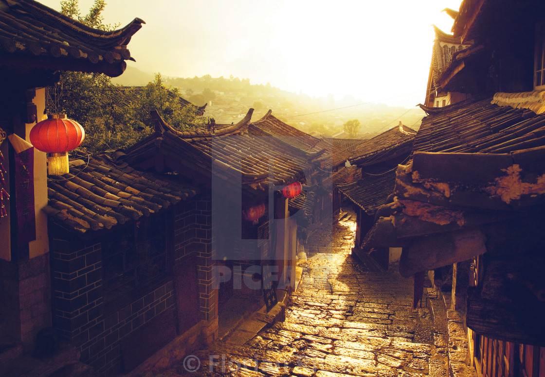 """Sunrise in Old town"" stock image"