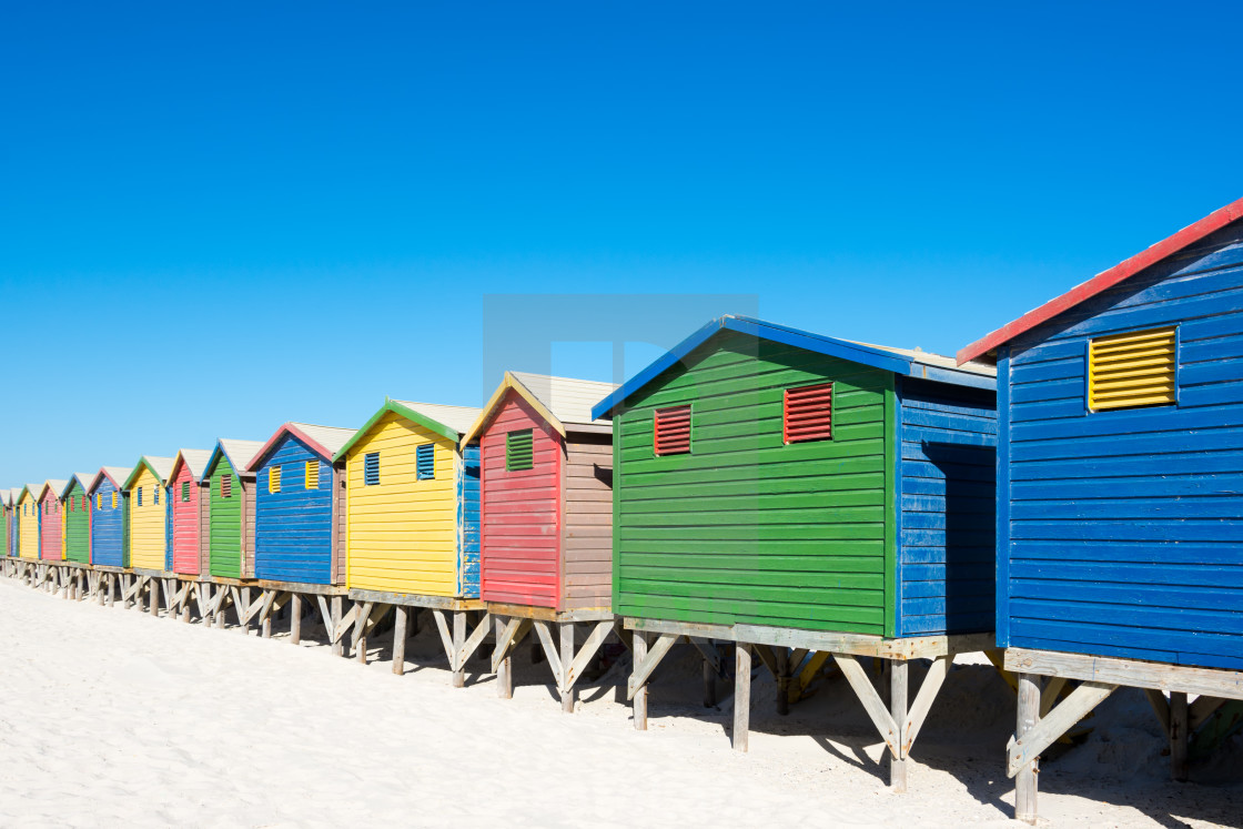 """Colorful beach houses at Cape Town"" stock image"