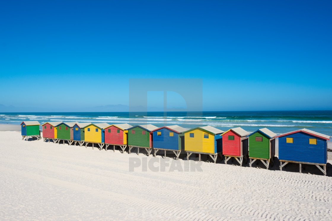 """""""Colorful beach houses at Cape Town"""" stock image"""