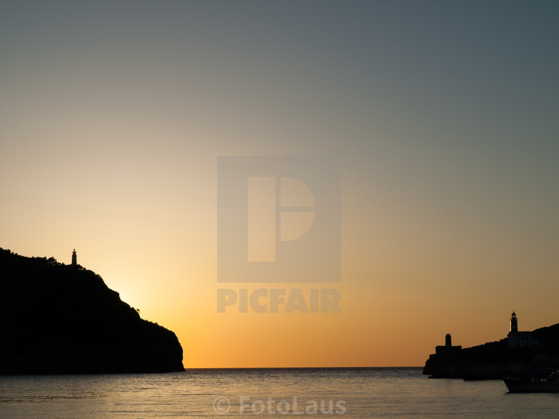 """Sunset at Harbor Entrance"" stock image"