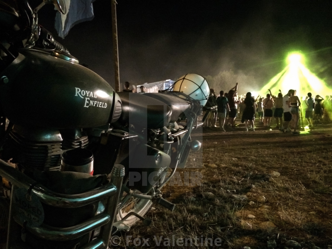 """Royal Enfield at a rave"" stock image"