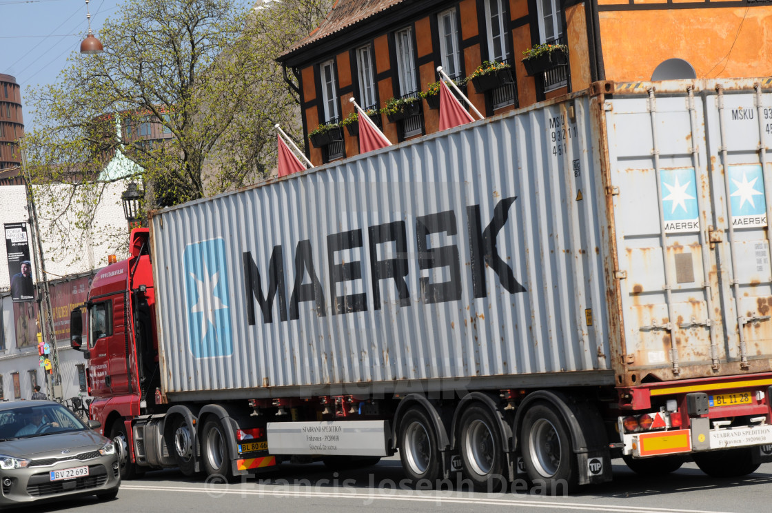 denmark's maersk shipping cargo container - License, download or