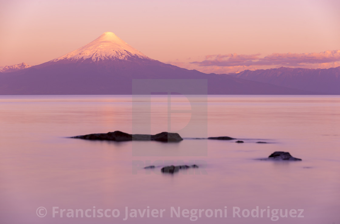 """LLanquihue lake and Osorno Volcano"" stock image"