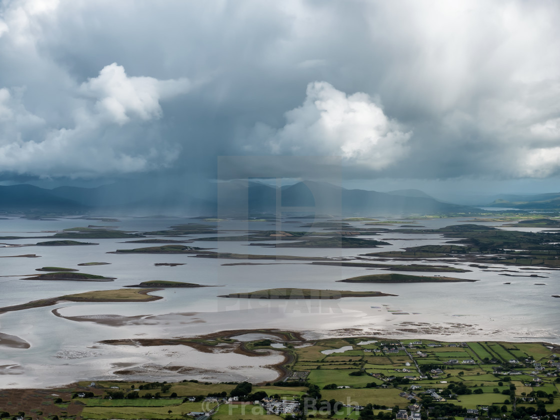 """The archipelago near Westport from the road to Croagh Patrick, Ireland"" stock image"